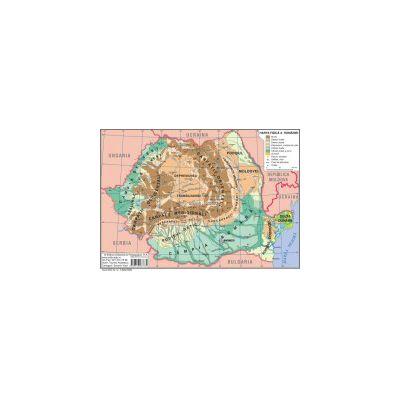 Harta fizică a României – Harta judeţelor, municipiilor şi oraşelor României (faţă – verso)